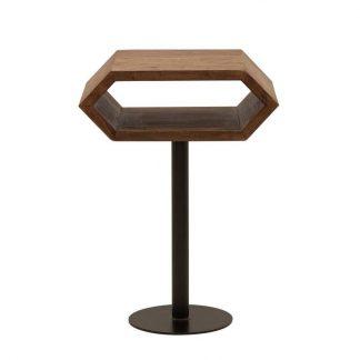 Drewniany stolik hexagon na metalowej nodze