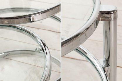 Stolik kawowy art deco transparentno-srebrny