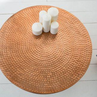 Stolik kawowy z młotkowanego aluminium optik / miedziany 60 cm