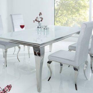 Modern barock elegancki stół do jadalni w stylu glamour z białym blatem i srebrnymi nogami 180 cm