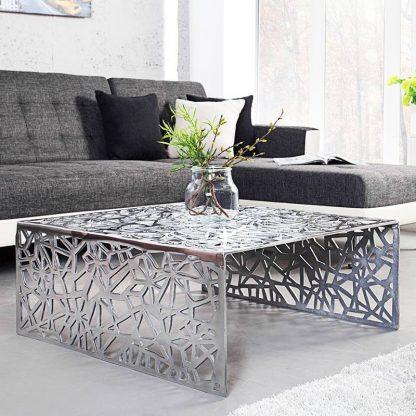 Designerski stolik kawowy abstract / srebrny 60 cm