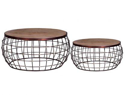 Okrągły stolik kawowy cesta z drewnianym blatem / zestaw 2 szt.