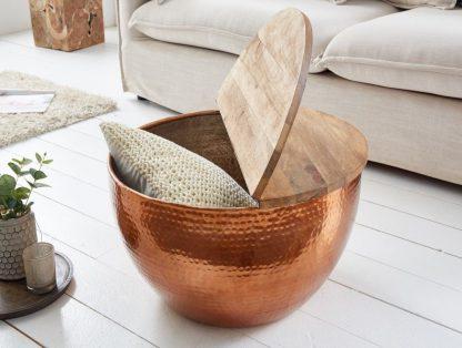 Stolik kawowy z młotkowanego aluminium optik z drewnianym blatem / miedziany 60 cm