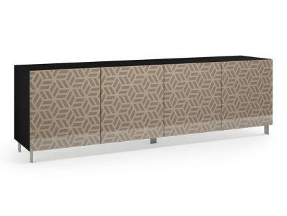 Nowoczesna komoda calisia beżowa z motywem geometrycznym / szer. 240 cm