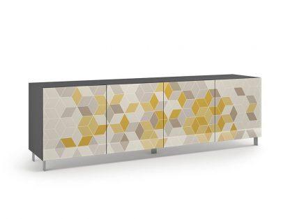 Nowoczesna komoda calisia szaro-beżowo-żółta z motywem geometrycznym / szer. 240 cm