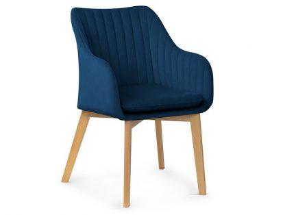 Krzesło oscar ii z pionowymi przeszyciami na oparciu / drewniane nogi