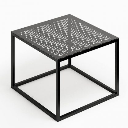 Nowoczesny stolik kawowy glast i ze szklanym blatem / 50x50 cm
