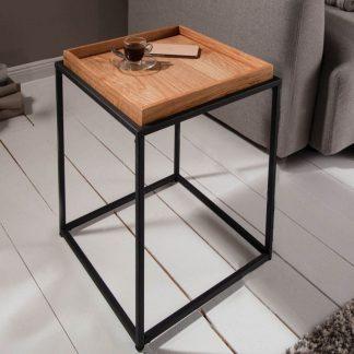 Kwadratowy stolik kawowy elements z dębowym blatem / 40x40 cm