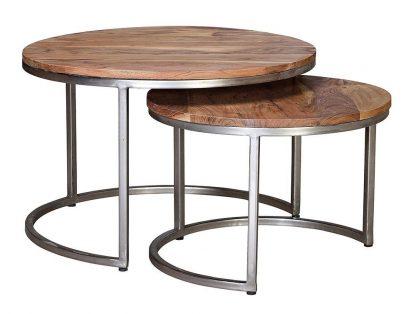 Drewniany okrągły stolik plata na metalowych nogach / zestaw 2 szt.