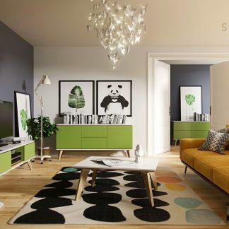 Zielona komoda 160 cm - skandica jorgen 2+2