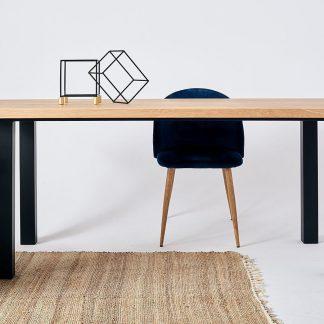 Nowoczesny dębowy stół tim na metalowych nogach / 180x90 cm