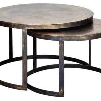 Metalowy okrągły stolik herrum / zestaw 2 szt.