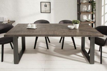 Industrialny stół iron craft z szarym blatem z drewna mango / 90x200 cm