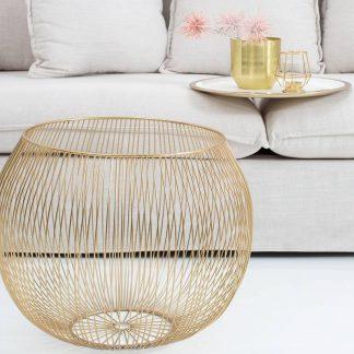 Stolik kawowy storage złoto-biały (średnica 51 cm)