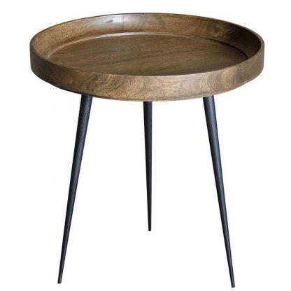 Okrągły stolik kawowy palo z drewnianym blatem i metalowymi nogami / wys. 60 cm