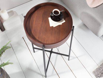 Okrągły stolik kawowy elements z drewnianym blatem / śr. 40 cm