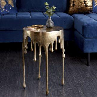 Designerski okrągły stolik kawowy liquid złoty / śr. 37 cm