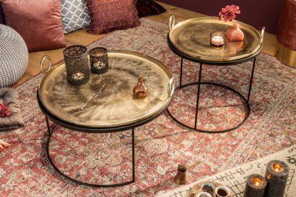 Okrągły stolik kawowy elements oriental ze złotym blatem / zestaw 2 szt.