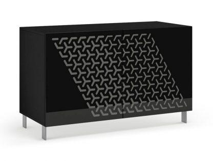 Nowoczesna komoda calisia czarno-szara z motywem geometrycznym / szer. 120 cm
