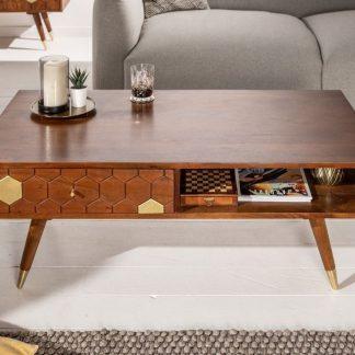 Drewniany stolik kawowy mystic living akacja / 117x60 cm