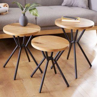 Okrągły stolik kawowy factory dziki dąb / zestaw 3 szt.