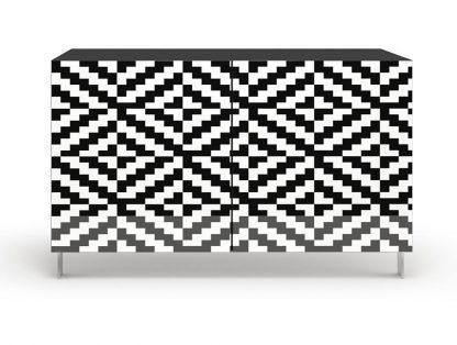 Nowoczesna komoda calisia biało-czarna z motywem geometrycznym / szer. 120 cm