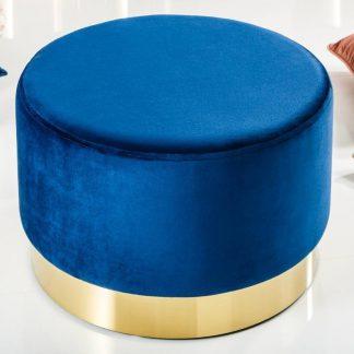 Elegancki puf modern barock niebiesko-złoty 55 cm