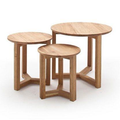 Drewniany dębowy stolik kawowy faye / zestaw 3 stolików