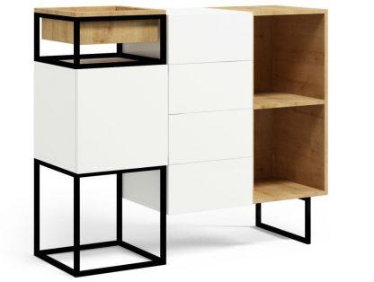 Nowoczesna komoda z szufladami i szafką box steel 2 / szer. 120 cm