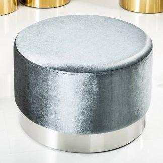 Elegancki puf modern barock szaro-srebrny 55 cm