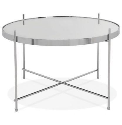 Okrągły stolik kawowy espejo medium / srebrny