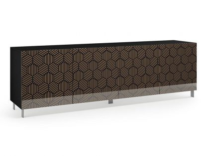 Nowoczesna komoda calisia czarno-beżowa z motywem geometrycznym / szer. 240 cm
