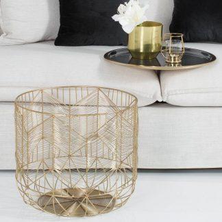 Stolik kawowy storage złoto-szary (średnica 42 cm)