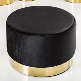 Elegancki puf modern barock czarno-złoty 55 cm