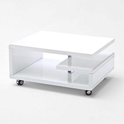 Nowoczesny biały stolik kawowy kira na kółkach / 74x60 cm