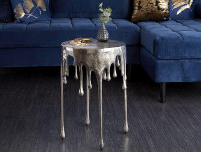 Designerski okrągły stolik kawowy liquid srebrny / śr. 37 cm