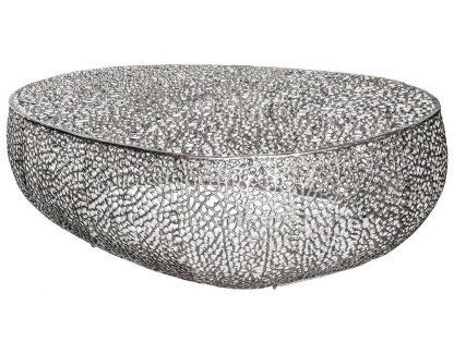 Designerski stolik kawowy leaf / srebrny 122 cm