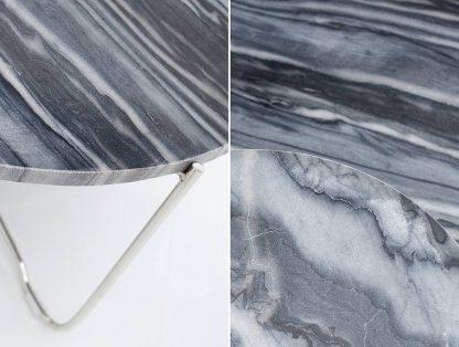 Okrągły stolik z marmurowym blatem noble szaro-srebrny 60 cm