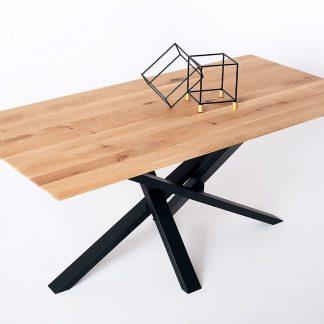Nowoczesny dębowy stół embiid na metalowych nogach / 180x90 cm