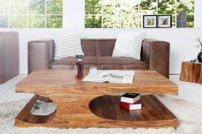 Ława goa z drewna palisandrowego z dodatkowymi półkami 120 cm