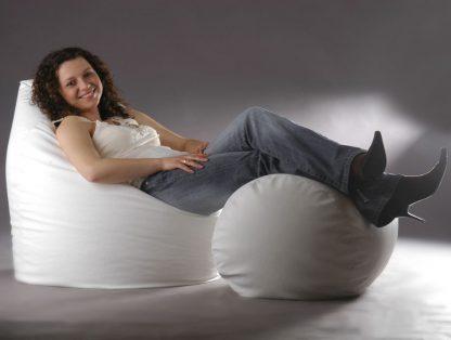 Wysyłka w 48 h: biały fotel fatty 2xl + puf