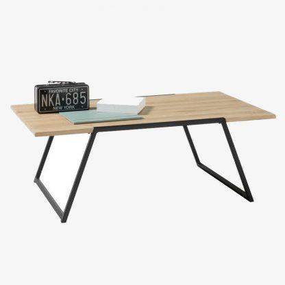 Nowoczesny stolik kawowy eliano z drewnianym dębowym blatem / 110x60 cm