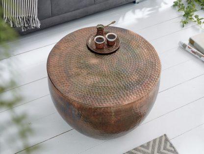 Stolik kawowy z młotkowanego aluminium optik / płomieniowana miedź 60 cm