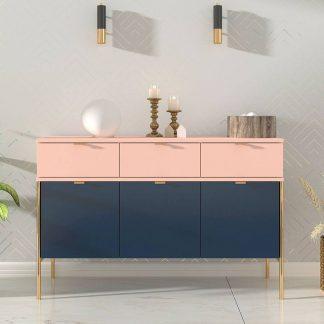 Elegancka granatowo-różowa komoda skandica polka na złotych nóżkach