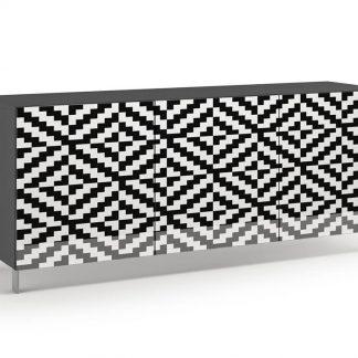 Nowoczesna komoda calisia biało-czarna z motywem geometrycznym / szer. 180 cm