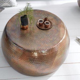 Stolik kawowy z młotkowanego aluminium optik / płomieniowana miedź 80 cm