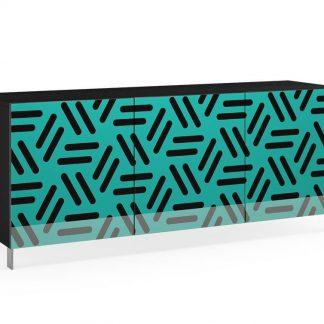 Nowoczesna komoda calisia czarno-turkusowa z motywem geometrycznym / szer. 180 cm