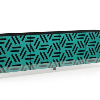 Nowoczesna komoda calisia czarno-turkusowa z motywem geometrycznym / szer. 240 cm