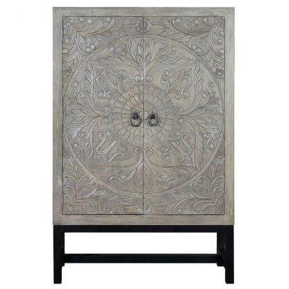 Drewniana komoda lirio w stylu rustykalnym / wys. 180 cm
