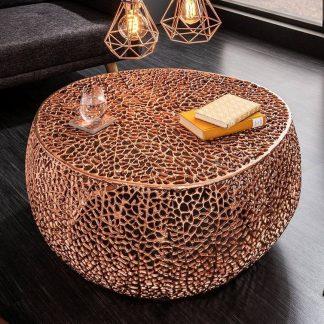 Designerski stolik kawowy leaf / miedziany 80 cm
